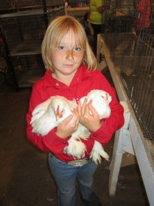 Kailyn Kiser cluched onto her chickens, Duckie and Owlets, at the Youth Poultry Show this week. (Ernie Over photo)