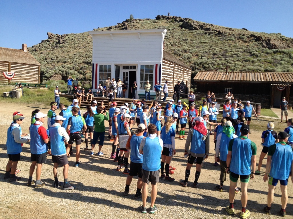 Participants gathered in front of the Smith Sherlock Store in Historic South Pass City early this morning for the start of the Cowboy Tough Adventure Race. (Photo by Joe Ellis)