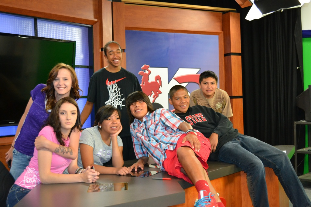 Young people from the Wind River Reservation participated in producing a Suicide Prevention PSAs. The announcements will be debuted tonight at Central Wyoming College. Pictured are: Kimberly Immenschuh front left, behind Kimberly Jessica Black, Charmayne Brown next to Jessica,  Hudda Herrera laying in red, Che' Stiffarm laying in black, Matthew Underwood  in the back standing Cooxooeii Black.