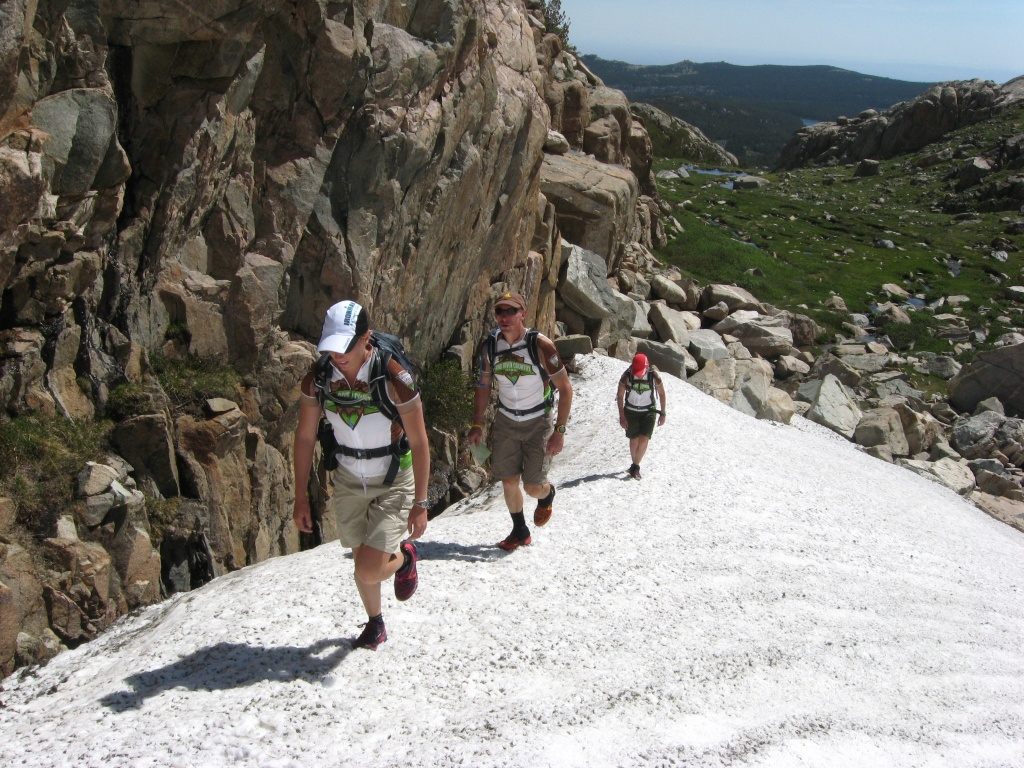 The Wind River Country Rev Team Members make their way up a snow field on the Stough Creek Loop this past week. (Shad Hamilton photo)
