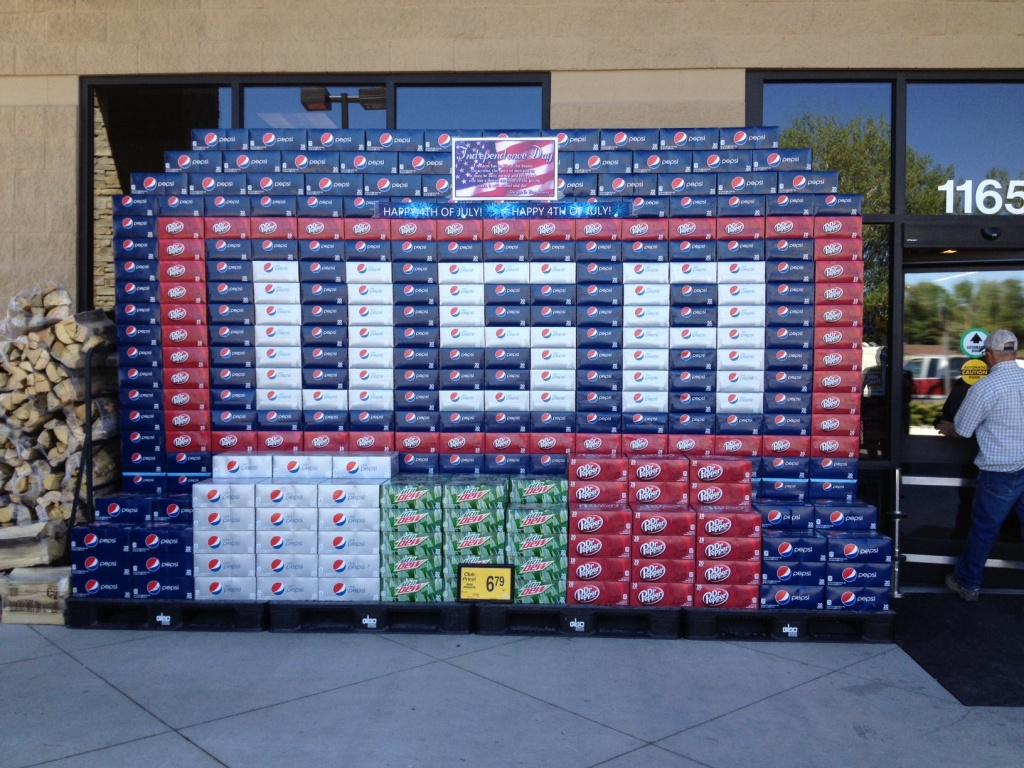 "Fremont Beverages of Riverton created ""pop art"" patriotic displays for the Independence Day holiday. Pictured here is the display at Lander's Safeway Store. (Ernie Over photo)"