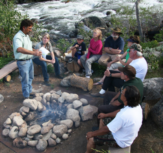 After each Fireside program at Sinks Canyon State Park guests are invited to roast marshmallows around hot coals. Pictured is one post- program from last summer.