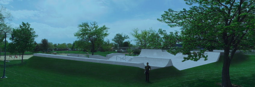 The proposed design of the Riverton Skatepark calls for the facility to be built at ground level, not sunken into the ground. The edges of the park's bowls would feature landscaped berms.