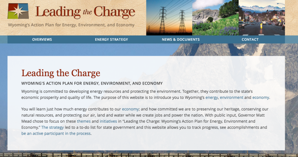 The home page of energy.wyo.gov.