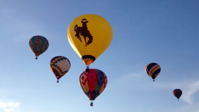 Steamboat, the iconic image of Wyoming, piloted by Bruce Pivic of Rock Springs, soared into the sky at this morning's balloon launch in Riverton. (Ernie Over photo)