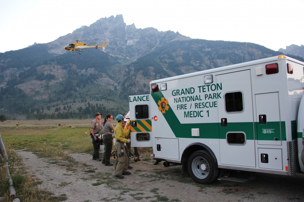 A SAR staged from Jenny Lake Rescue Cache near Lupine Meadows in August 2012. File Photo: Grand Teton Natiional Park