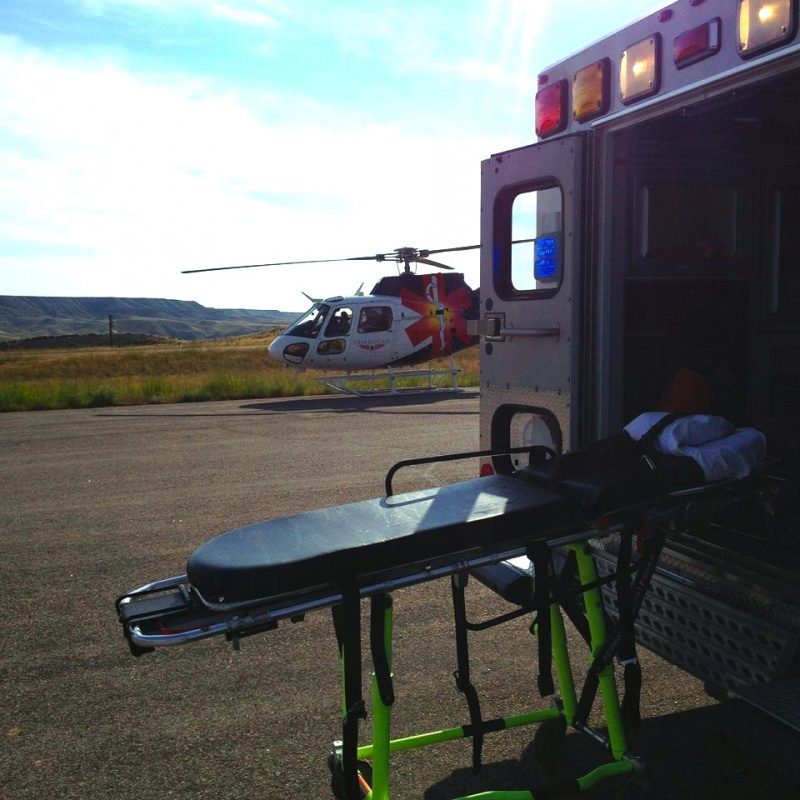 A Guardian helicopter flew one of the victims from the scene this morning. Photo provided.