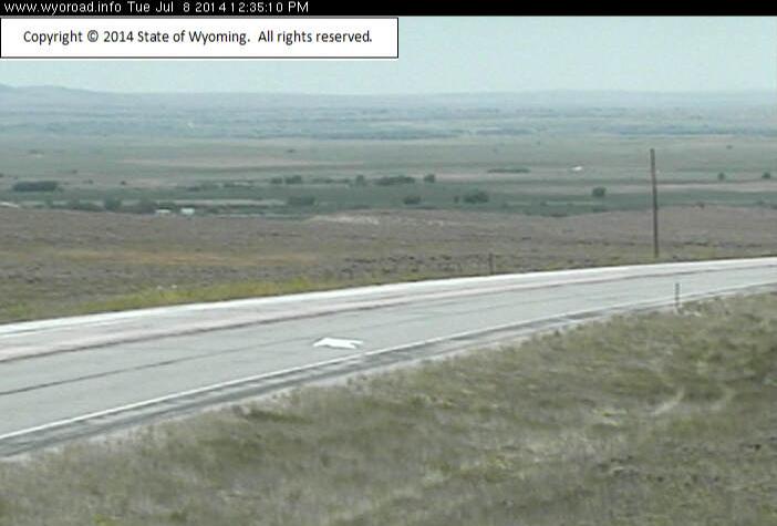 The WYDOT Web Cam at Skyline on WY 230 shows some smoke from the Snowy Range Fire. The route from Woods Landing to the Colorado State Line remains open at this hour. (WYDOT)