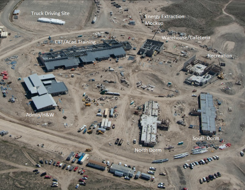 An aerial view taken in early June of the Wind River Job Corps Site. Substantial progress at the site has occurred since the photo was taken and it is estimated the six buildings on the campus will be ready for interior work in September. (US Dept. of Labor photo)