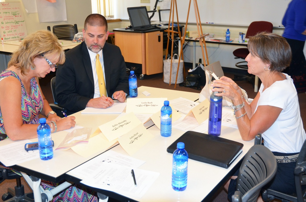 From left, Paige Fenton Hughes, coordinator for the State Board of Education and former FCSD#1 Superintendent; Brian Farmer, executive director of the Wyoming School Boards Association; and Mary Garland, president and chair of the John P. Ellbogen Foundation, were among those participating in Tuesday's kickoff meeting of the Wyoming School Leadership Collaborative. (UW Photo)