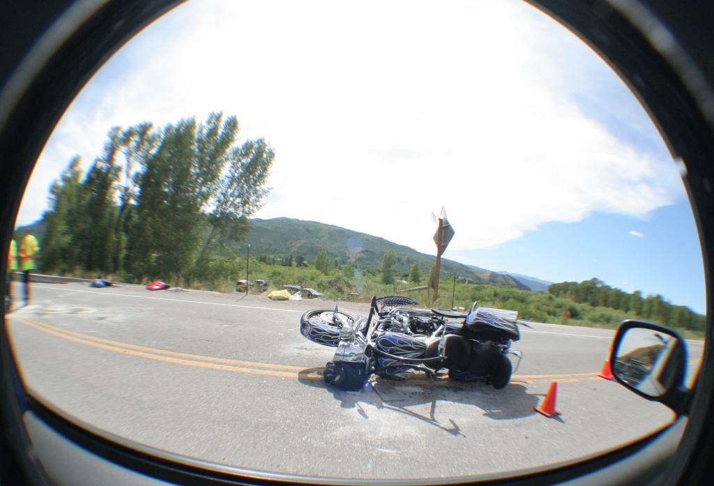 The crashed motorcycle that claimed the life of a California resident on Sunday. (Photo provided by Lee Crook)