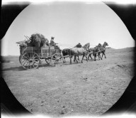 A loaded freight wagon headed for Fort Washakie. (from the collection of Jean Mathisen Haugen)