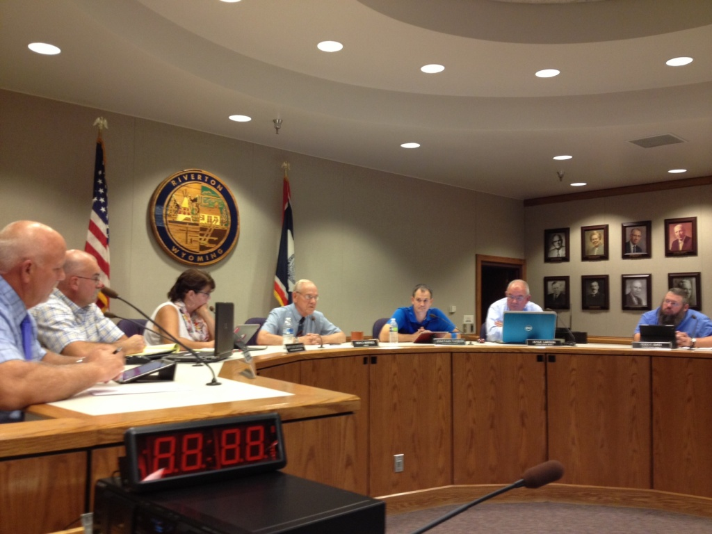 The Riverton City Council from a meeting earlier this month. (File photo)