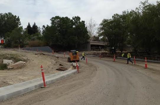 Jerry Bornhoff Construction crews are preparing Hill Street and the new intersection with Riverview Road. The street should be available as a detour for eastbound traffic on Highway 26 during the annual fair parade coming up in August.  (Ernie Over photo)