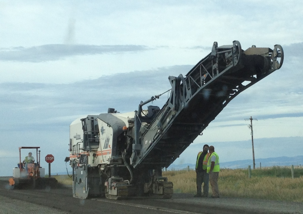 HK Contractors of Idaho began milling on Phase II of the Eight Mile Road Project Wednesday morning NW of Riverton. (Ernie Over photo)