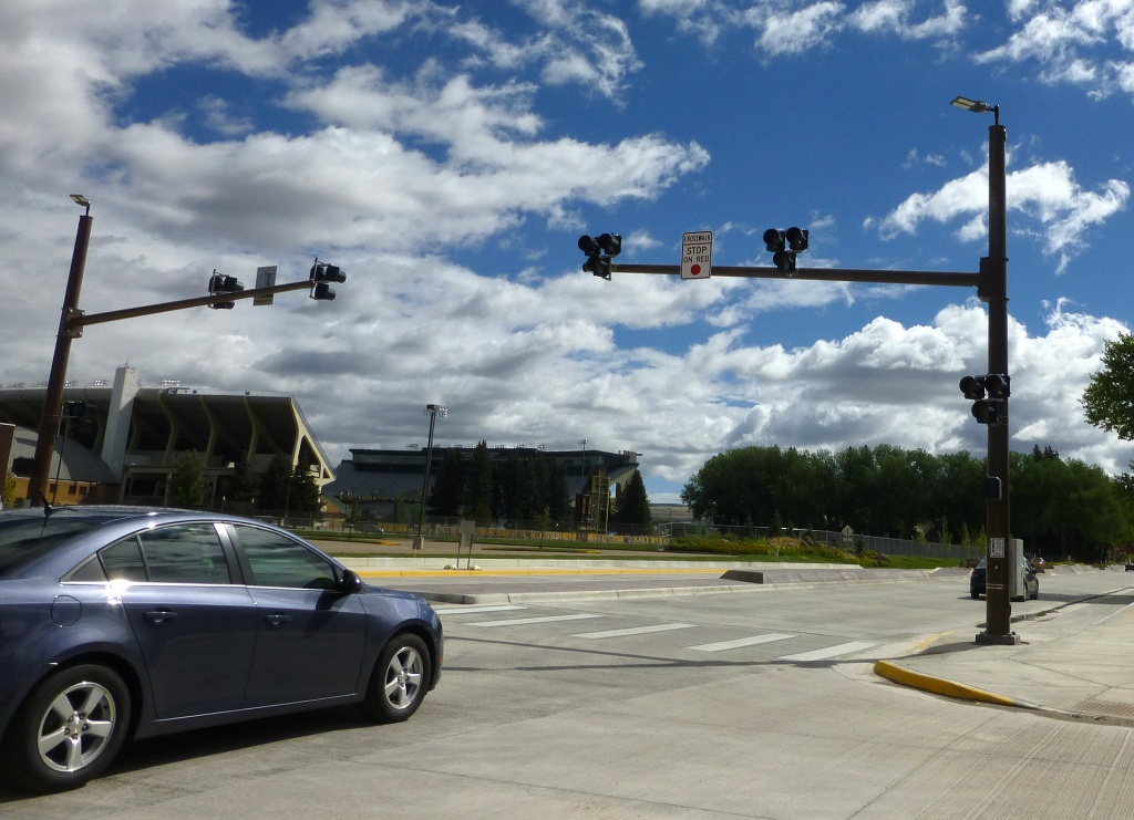 "The newly installed ""Hawk Beacon"" on Grand Avenue in Laramie. (WYDOT)"