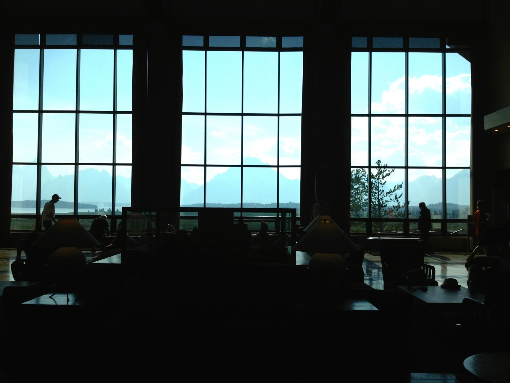 The grand mezzanine of the Jackson Lake Lodge looking out at Mount Moran. (Ernie Over photo)