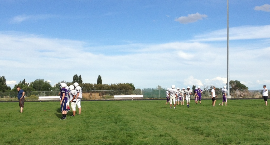 The 2014 edition of the Wind River Cougars at practice earlier this week. (Ernie Over photo)