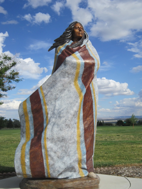 Sacajawea stands on the CWC Campus. Sculpture by Harry Jackson.