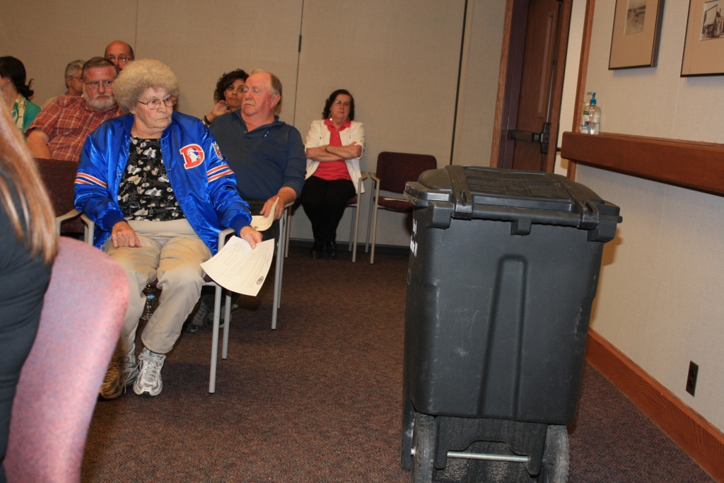 Will the city of Riverton go exclusively to rollout trash containers? That's the recommendation of a Sanitation Task Force that was presented to the city council Tuesday night. A decision on the trash pick-up schedule will be made next week. (file photo of a 45 gallon trash rollout at a previous city council meeting)
