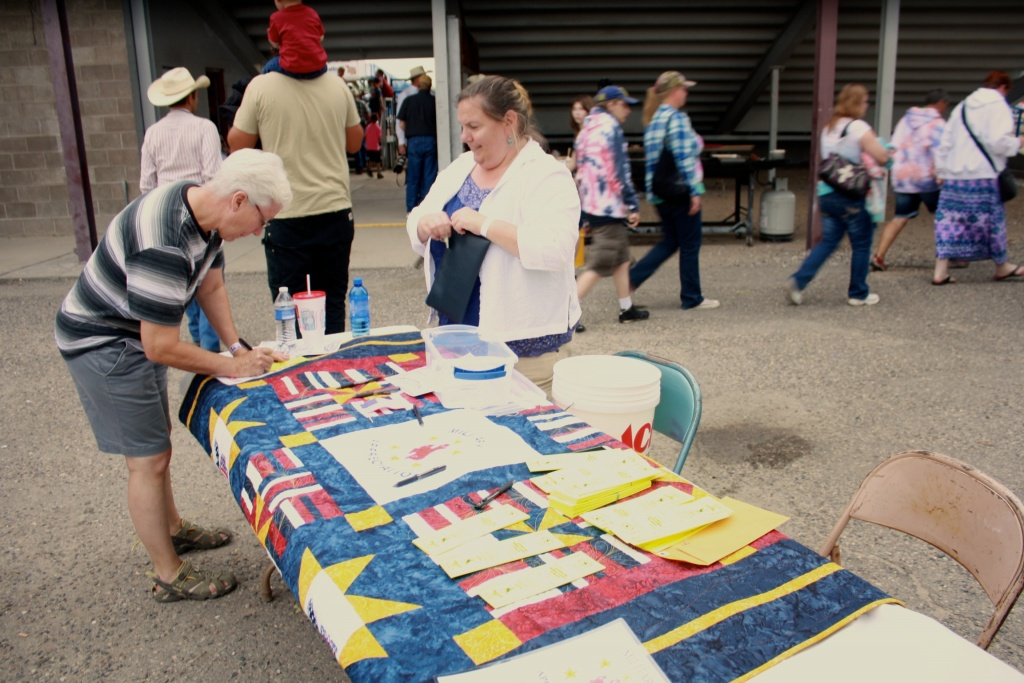 Vietnam Veteran Jim Arndt was the winner of a military honor quilt raffled at the Fremont County Fair this week. (Ernie Over photo)