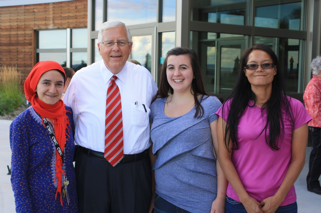 Enzi took a few moments to have his photograph taken with CWC students, including, from left, Jennet Nedirmemmedova, an international student from Turkmenistan, and Rebecca Iacovetto from Rawlins and Becky Bercier of Fort Washakie.