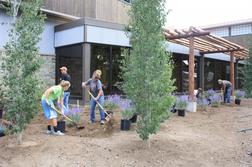 A crew from Sprouts Greenhouse was hard at work Tuesday landscaping the front of the Lander Community and Convention Center. (Ernie Over photo)
