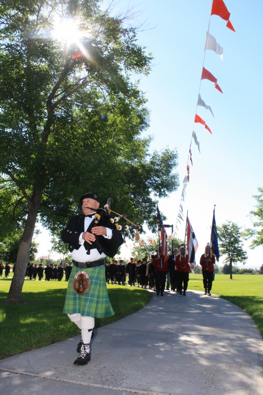 Bagpiper Ray Price led the Convocation Processional to the Central Wyoming College Robert A. Peck Arts Center Theatre in 2014.