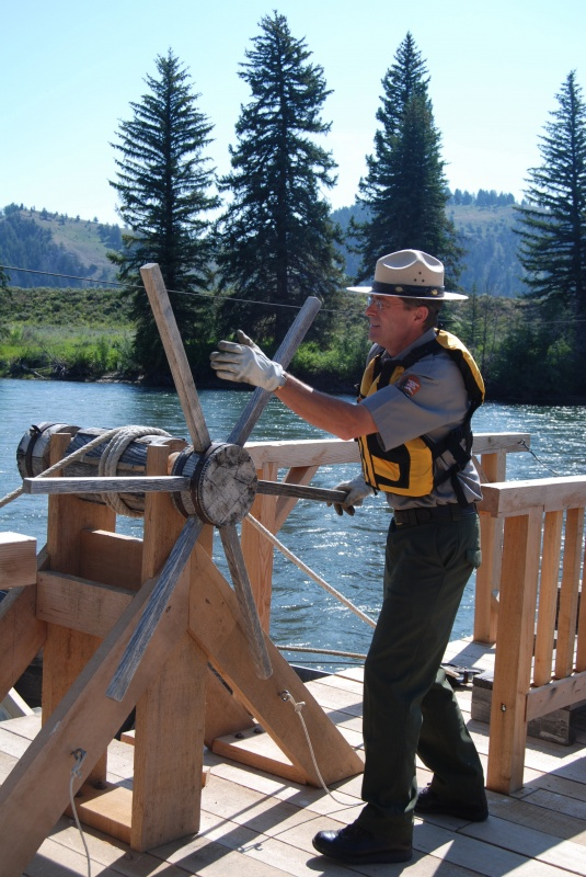 A Park Ranger is pictured operating the Menor's Ferry in 2009 (GTNP)