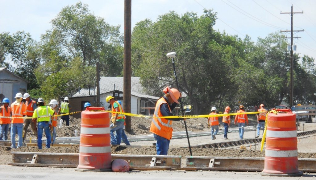 Forms are being placed on the West  Monroe Intersection in preparation for concrete paving. (WYDOT)