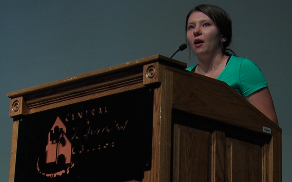 CWC Student Senate President Rachel Hofer Addressed the new students. (Michael Severen photo)