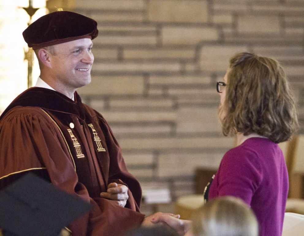 Wyoming Catholic College President Dr. Kevin Roberts welcomed a student in 2014. (WCC)