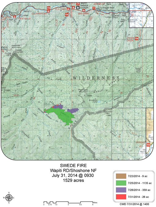 Map from Shoshone National Forest, National Interagency Fire Center.