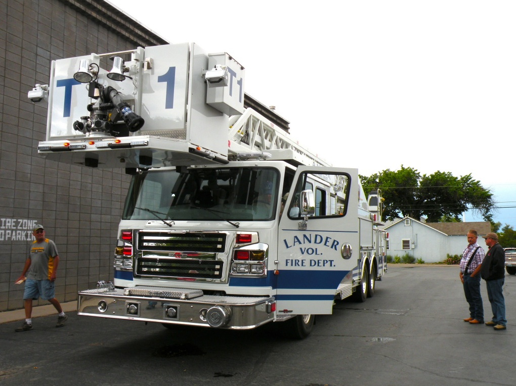 The Lander Volunteer Fire Department's new ladder truck will be dedicated tomorrow.