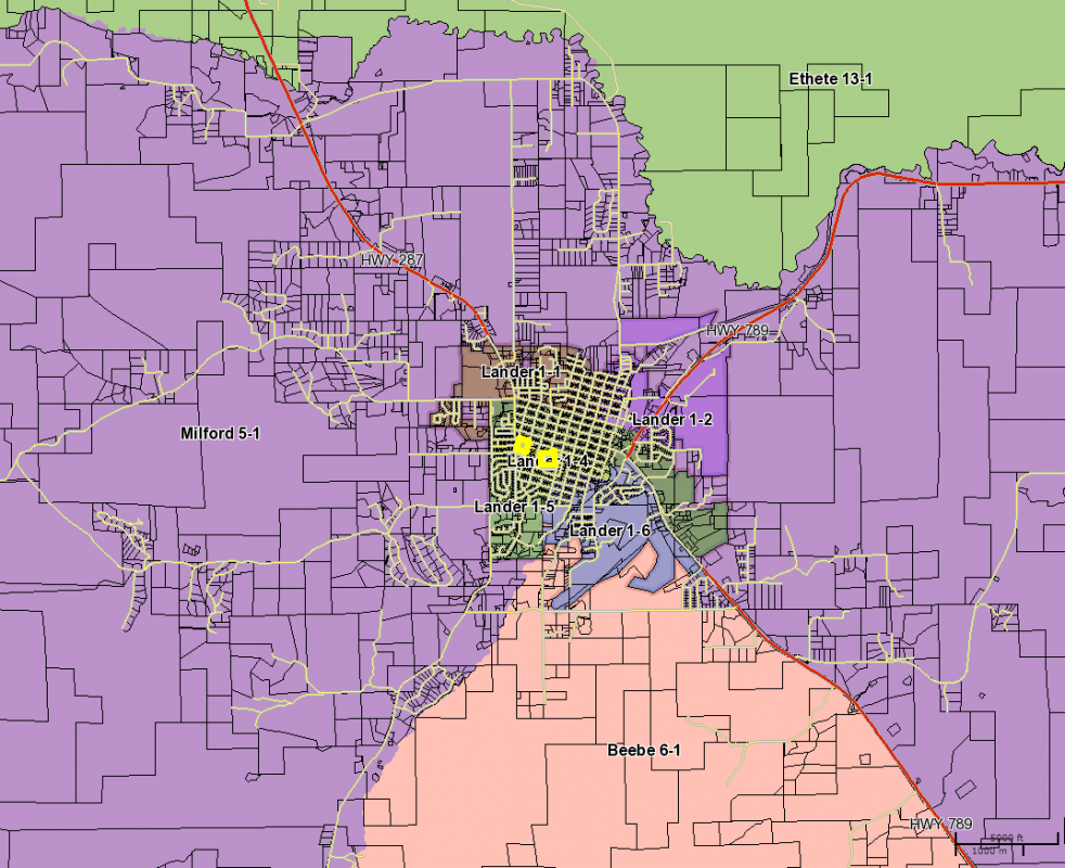 A screen shot of voting precincts around the Lander area.