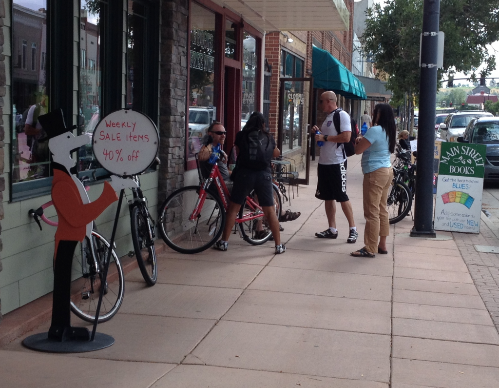 Cyclists hanging out in front Main Street Books this morning.