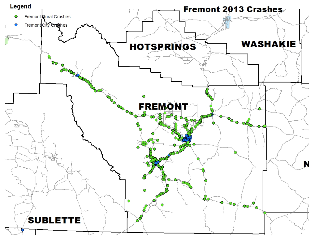 Map created by Injury Prevention Resources and WYDOT Highway Safety Crash Data Management