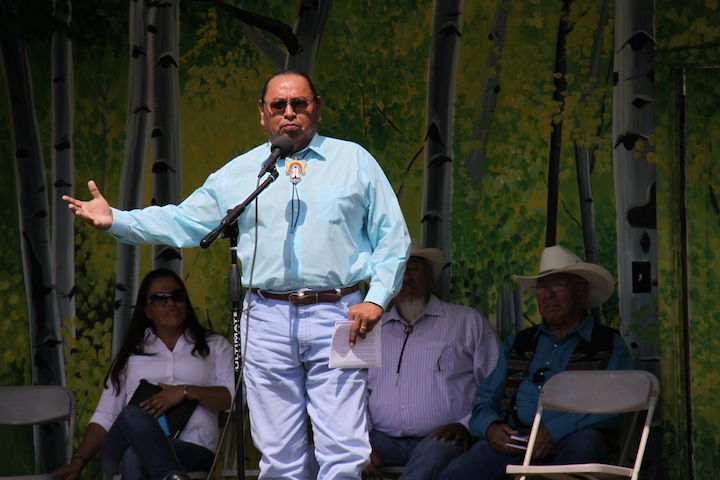 Presenter Pat Goggles with other speakers, Andrea Clifford, Sergio Maldonado, and William C'Hair during the presentation at Rocky Mountain National Park.