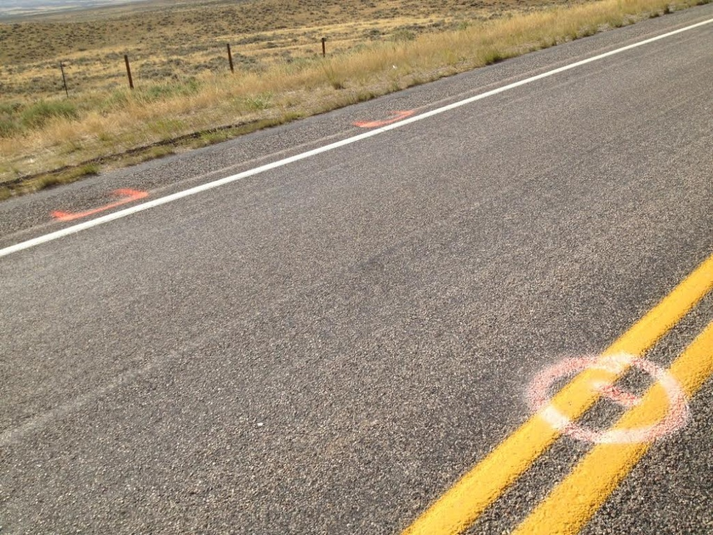 Markings on Blue Sky Highway at the scene of the shooting.