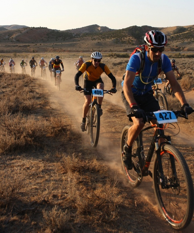 Riders participating in a mountain bike race at Johnny Behind the Rocks. File photo.