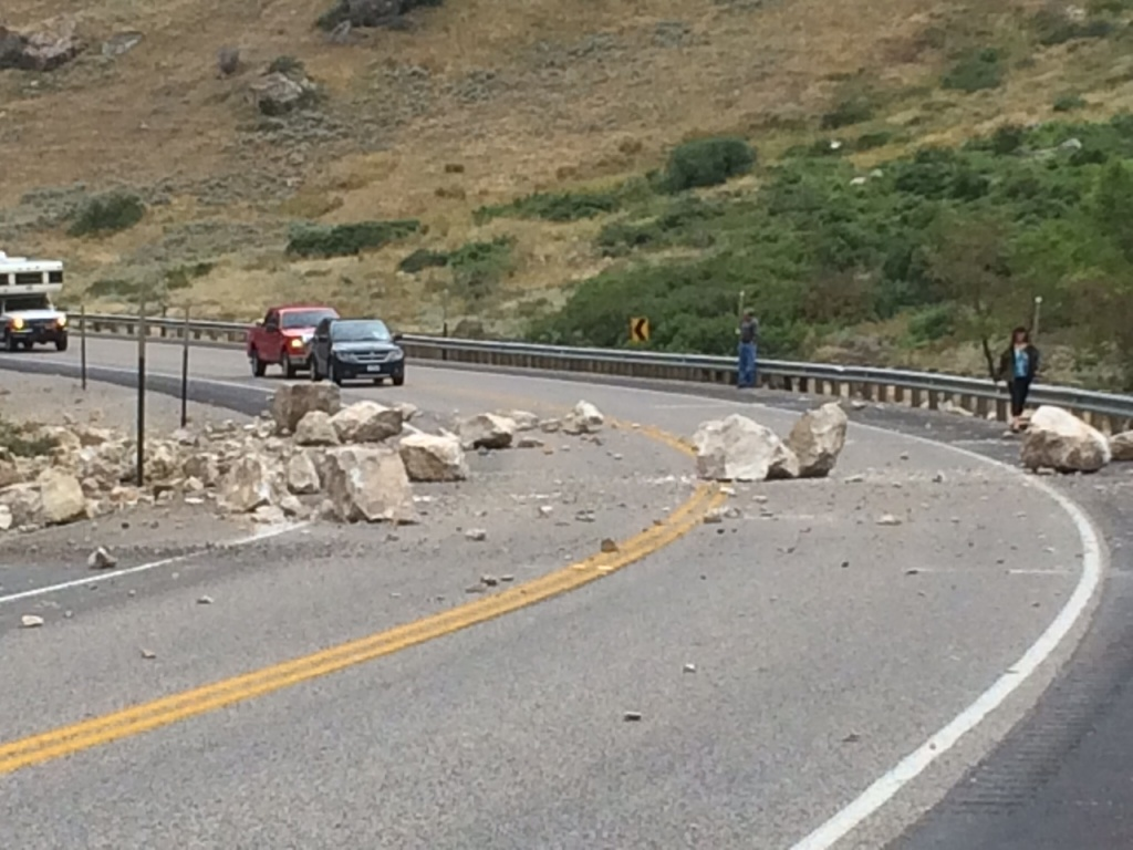 A rock slide came down in Wind River Canyon late this afternoon leaving large fractured boulders on Highway 20. (Phil Christopherson photo)