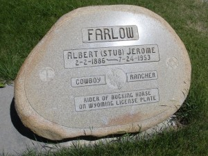 Stub Farlow's grave marker at Lander's Mount Hope Cemetery.  (collection of Jean Mathisen Haugen)