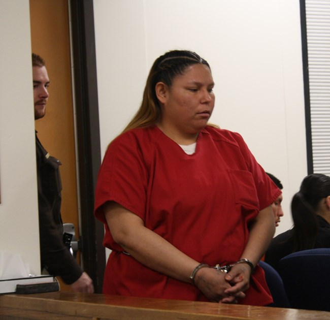 Co-defendant Delight Sunrhodes entered the courtroom before her preliminary hearing. File photo.