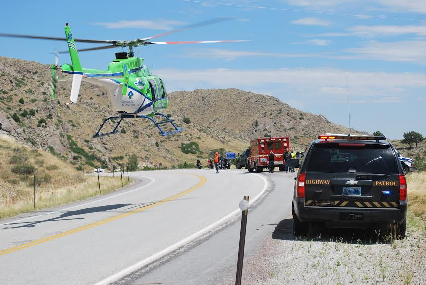 An air ambulance from Greeley, Colo. evacuated an injured motorcyclist from a crash in Seville Canyon on Thursday. (Wyoming Highway Patrol)