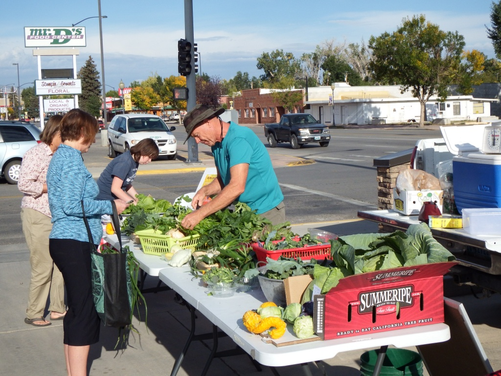 Farmer Fred, Fred Groenke sold a bag of fresh garden greens at this morning's Lander Valley Farmers Market. (Ernie Over photo)