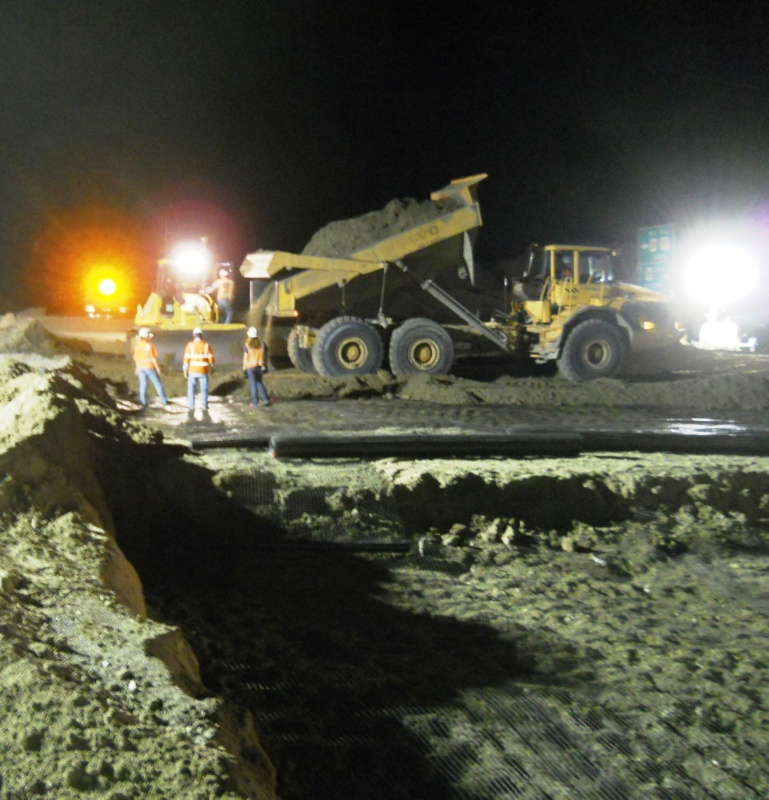 Night work continues on the Diversion Dam Intersection Project north of Fort Washakie on Highway 26/287. (WYDOT)