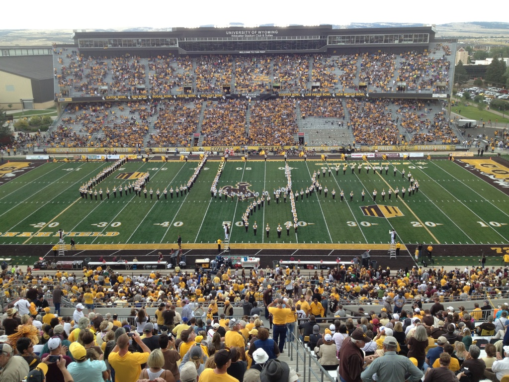 UW's Western Thunder Marching Band at War Memorial Stadium in Laramie.  (Ernie Over photo)