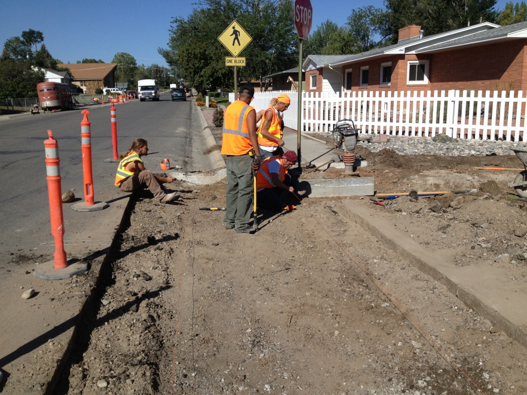 Workers prepare to set forms for a new valley pan along East Sunset this past week. The work is part of the city's one percent optional sales tax projects. (Ernie Over photo)