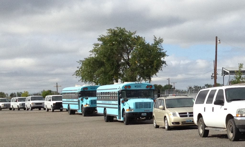 The Honor Farm Evacuation Motorcade prepared to leave the Fremont County Fairgrounds after a successful transport of prisoners during an emergency drill. (Ernie Over photo)