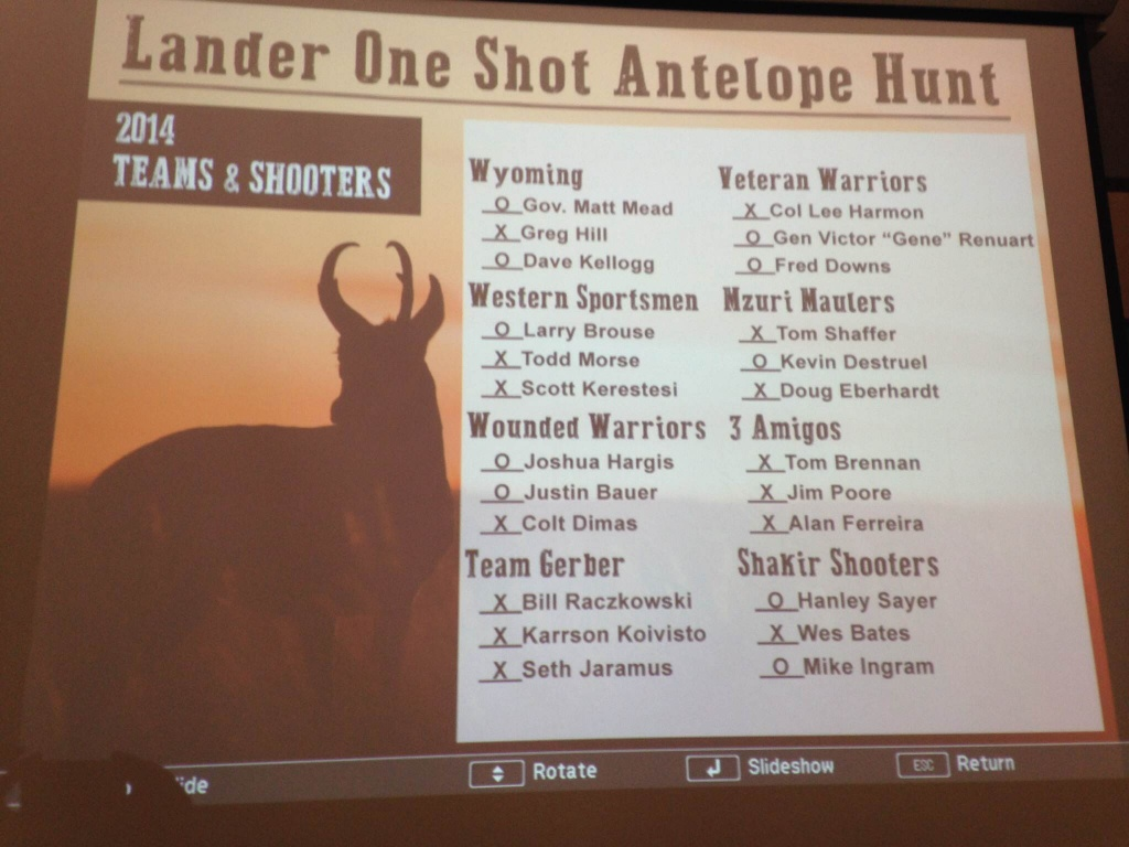 The 2014 One Shot Antelope Hunt results provided by Tim Gist.